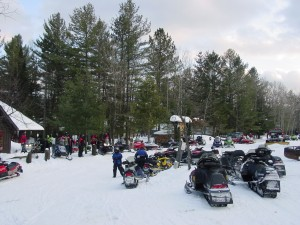 Snowmobiles at Beaver River a few miles south of Robinwood Park.