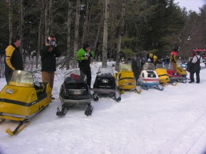 Old snowmobiles at Beaver River a few years back.